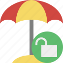 beach, summer, sun, travel, umbrella, unlock, vacation icon