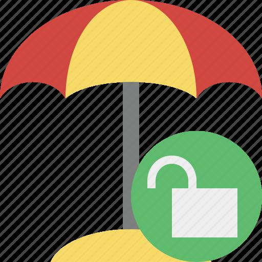 beach, summer, sun, travel, umbrella, unlock, vacation icon