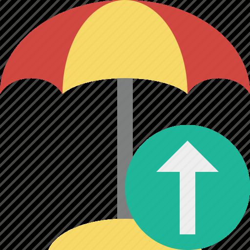 beach, summer, sun, travel, umbrella, upload, vacation icon
