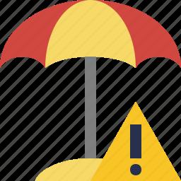 beach, summer, sun, travel, umbrella, vacation, warning icon