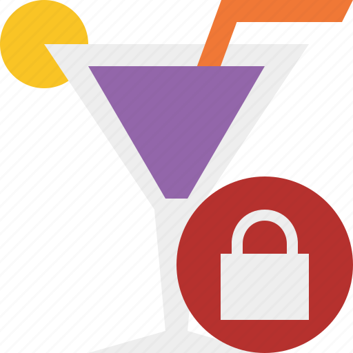 alcohol, beverage, cocktail, drink, glass, lock, vacation icon