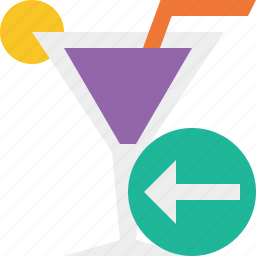 alcohol, beverage, cocktail, drink, glass, previous, vacation icon