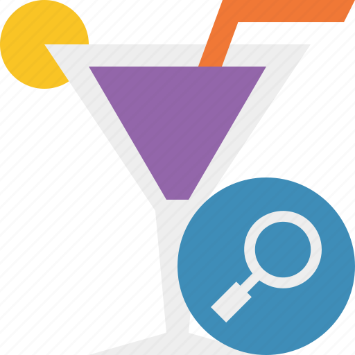 alcohol, beverage, cocktail, drink, glass, search, vacation icon