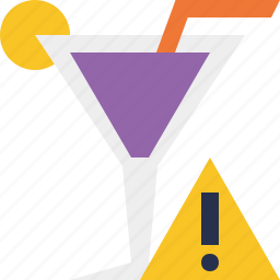 alcohol, beverage, cocktail, drink, glass, vacation, warning icon