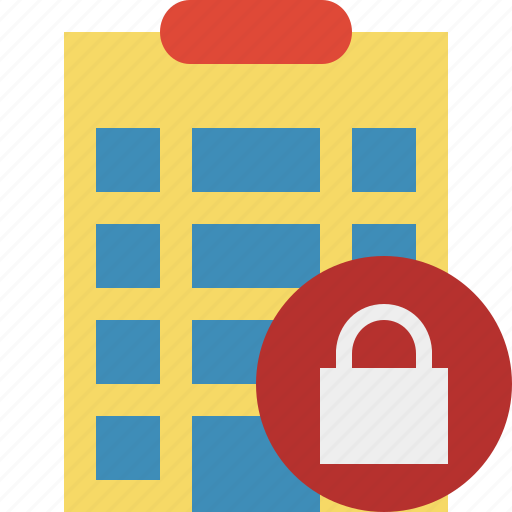 building, city, hotel, lock, office, travel, vacation icon