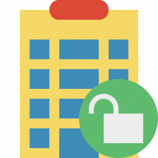building, city, hotel, office, travel, unlock, vacation icon