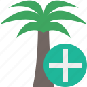 add, palmtree, travel, tree, tropical, vacation icon