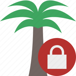 lock, palmtree, travel, tree, tropical, vacation icon