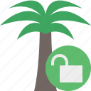 palmtree, travel, tree, tropical, unlock, vacation icon