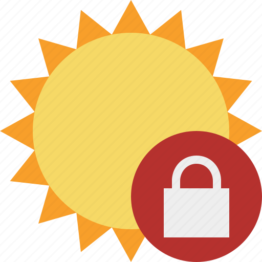 lock, summer, sun, sunny, travel, vacation, weather icon