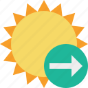next, summer, sun, sunny, travel, vacation, weather icon