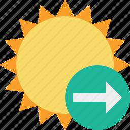 next, summer, sun, sunny, travel, vacation, weather icon