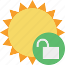 summer, sun, sunny, travel, unlock, vacation, weather icon