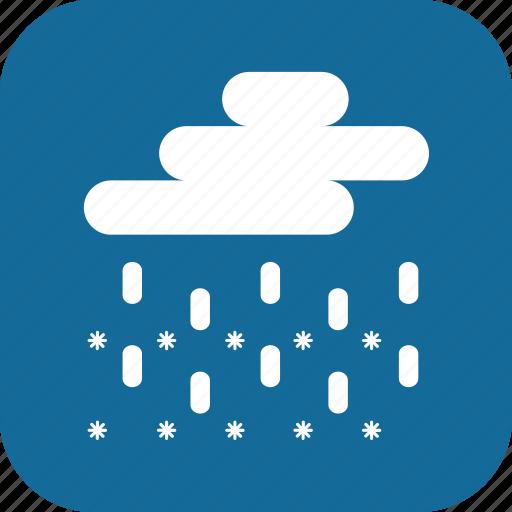day, rain, raining, sleet, snowing, storm, weather icon