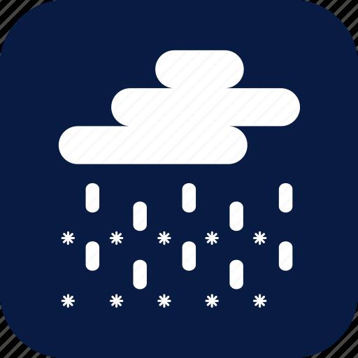 blizzard, night, rain, sleet, snow, snow and rain, weather icon