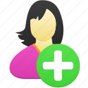 add, female, girl, user, woman icon