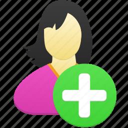 add, female, girl, user, woman icon