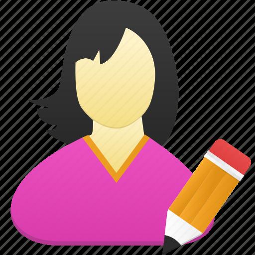 edit, female, girl, user, woman icon
