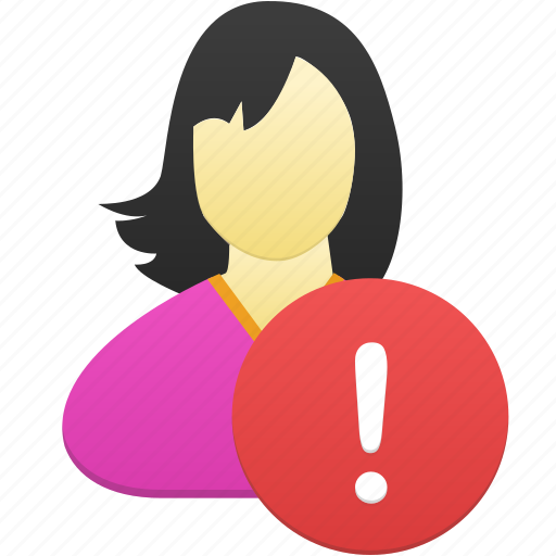 female, girl, user, warning, woman icon