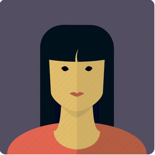 asian, avatar, dark, face, female, girl, woman icon