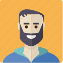 avatar, beard, face, male, man icon
