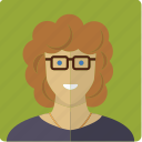 avatar, curls, face, female, girl, glasses, woman icon