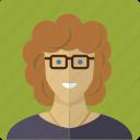 avatar, curls, face, female, girl, glasses, woman