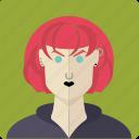 avatar, face, female, girl, gothic, piercing, red