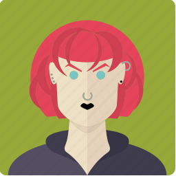 avatar, face, female, girl, gothic, piercing, red icon