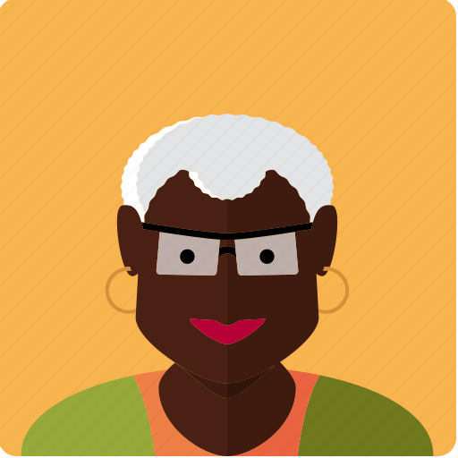 african, avatar, face, glasses, granny, grey, woman icon