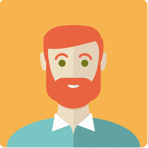 avatar, beard, face, male, man, red icon