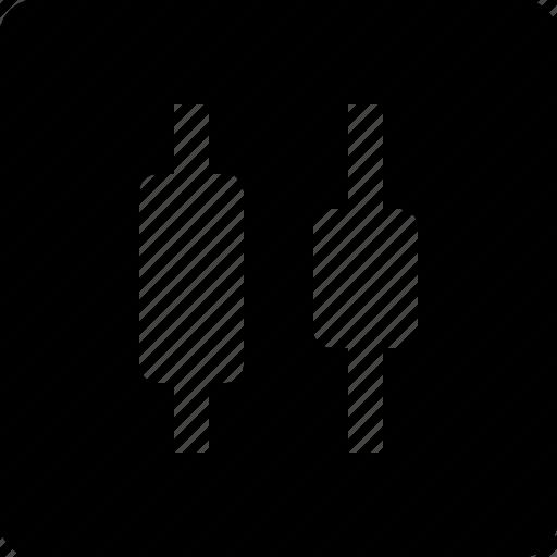 centers, distribute, horizontal icon