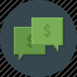 bubble, business, dollar, money, money talking, office, talking icon