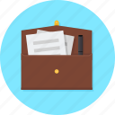bag, briefcase, briefcase with file, business, office, suitcase, workcase icon