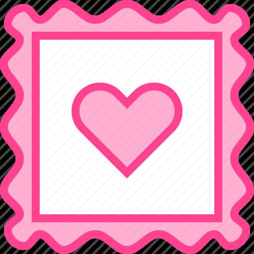 heart, love, postcard, stamp, valentine icon