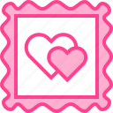 heart, love, postcard, stamp, valentine