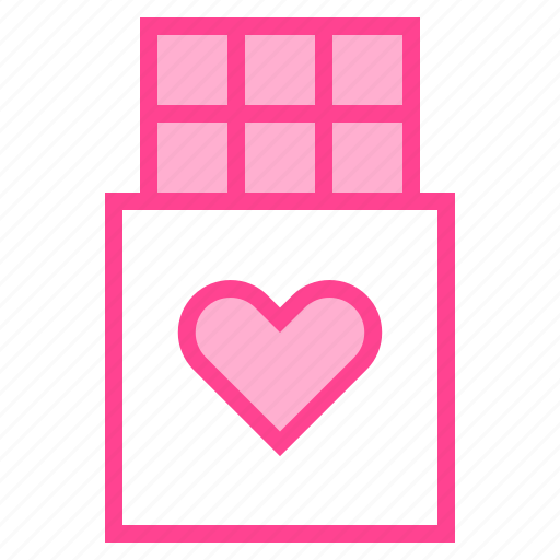 chocolate, gift, heart, love, valentine icon
