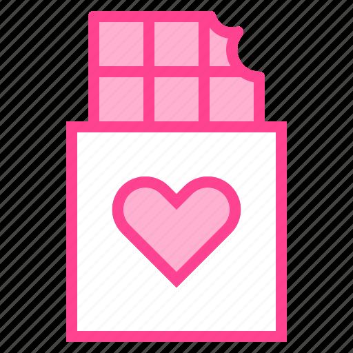 chocolate, gift, heart, love, valentine icon