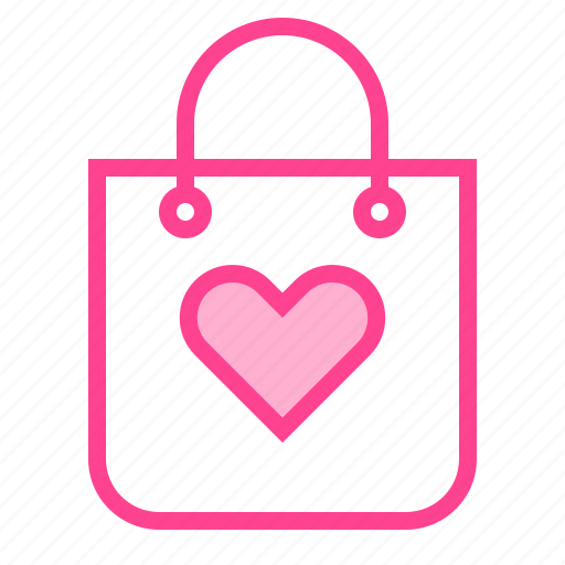 bag, heart, love, shoping, valentine icon