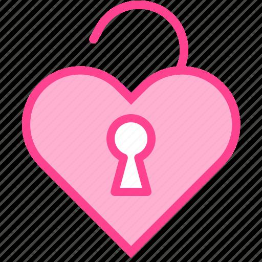 heart, key, love, unlock, valentine icon