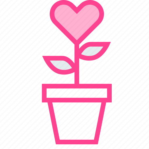 flower, heart, love, pot, valentine icon
