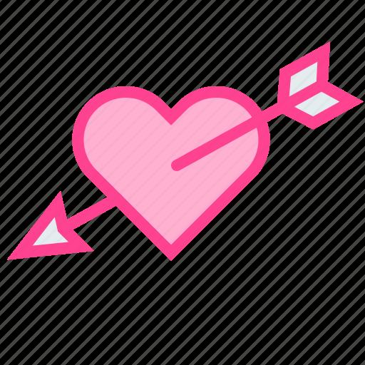 arrow, cupid, heart, love, valentine icon