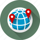 earth, globe, gps, location, map, marker, navigation, pin, planet, pointer, sphere, world icon