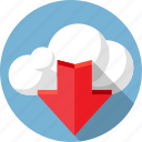 arrow, cloud, data, download, internet, load, network icon