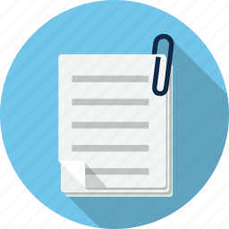 attached, binder, document, file, paper, paperclip, sheet icon