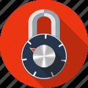 combination padlock, crypted, lock, padlock, password, security icon