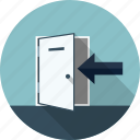 arrow, door, exit, log, logout, out icon