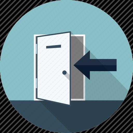 arrow, door, exit, log, logout, out icon
