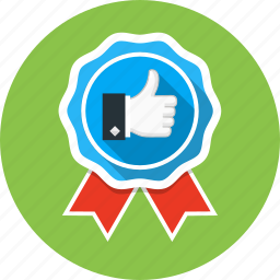 award, badge, best, prize, thumbs up icon