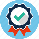 badge, certificate, check mark, ribbon icon